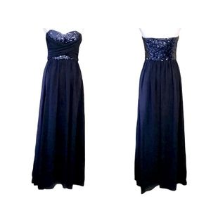 Chi Chi London Navy Chiffon Sequins Gown Small